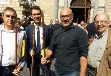 Xavier Codina a l'acte unitari d'alcaldes pel 1-O acompanyat d'altres alcaldes de la comarca FOTO: XAVIER CODINA