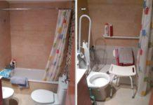 Imatges d'un bany abans i després de les obres FOTO-AJUNTAMENT DE SANTPEDOR