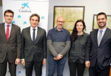 Xavier Codina i Laura Tarradellas acompanyats de representants de La Caixa FOTO.AJUNTAMENT DE SANTPEDOR