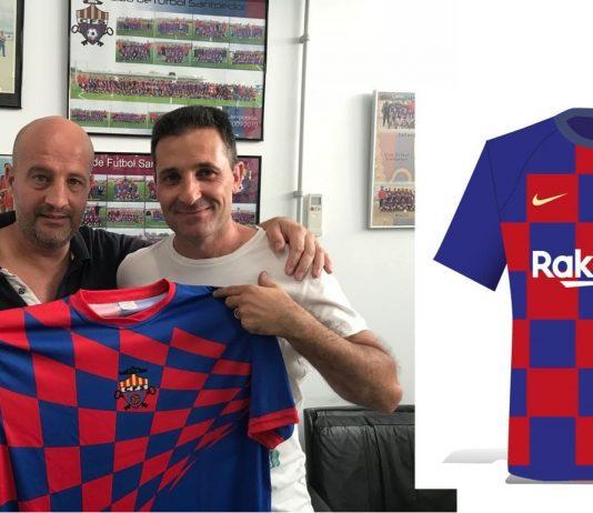 Nova samarreta del CF Santpedor vs samarreta Barça 2019-2020