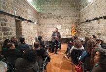 Oriol Amorós parlant als mentors de Santpedor