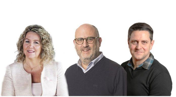 Mercè Casals, candidata Bages per JxC al congrés, Eduard Pujol, diputat al Parlament, i Antnoi Puiggròs, candidat per JxS a Santpedor FOTO.JUNTS PER CATALUNYA