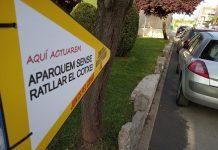 Senyal de Junts per Santpedor sobre una zona de aparcament del poble FOTO:JXS