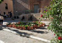 Plaça de l'Església guarnida amb flors a la Fira Santpedor en flor